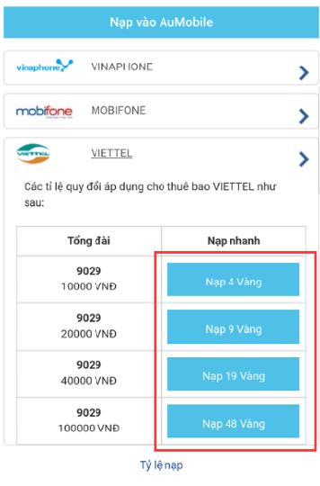 [Thông báo - Aumobile] - MỞ LẠI CỔNG NẠP VÀNG QUA SMS – CSKH VTC Mobile -  Hotline: 19001104